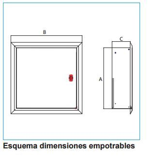 Esquema dimensiones empotrables