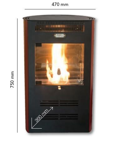 Estufa de bioetanol con ventilació Ruby Elegance- dimensiones