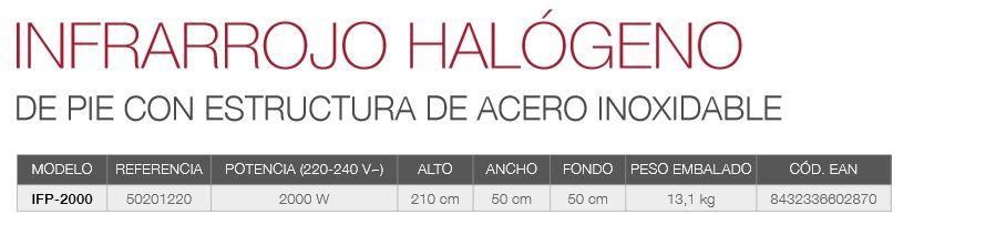 caracteristicas infrarrojo halogeno pie acero inoxidable ifp-2000