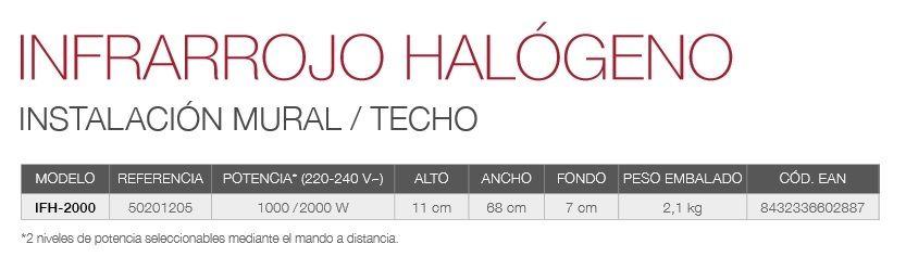 caracteristicas Calefactor Infrarrojos halogeno ifh-2000 gabarron