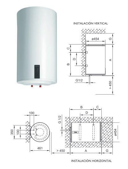 instalacion termo electrico mural en horizontal o vertical