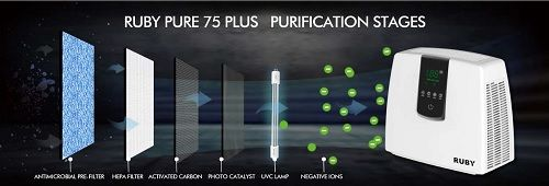 Purificador de aire Ionizador Antibacteriano RUBY PURE 75 PLUS